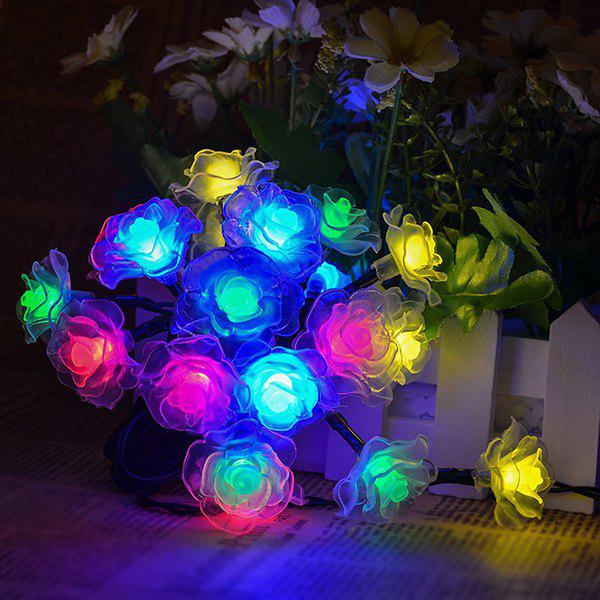 4.8M Christmas Rose Solar Power LED String Light Party Decoration - COLORFUL
