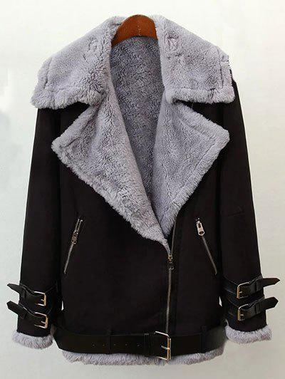 Faux Shearling Winter Jacket - BLACK M