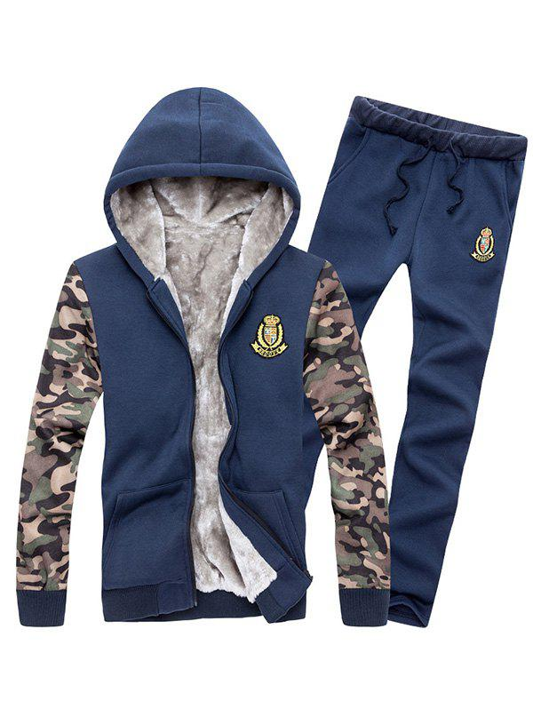 Zip Up Camo Sleeve Patch Hoodie and Sweatpants Twinset платье qed london qed london qe001ewron74