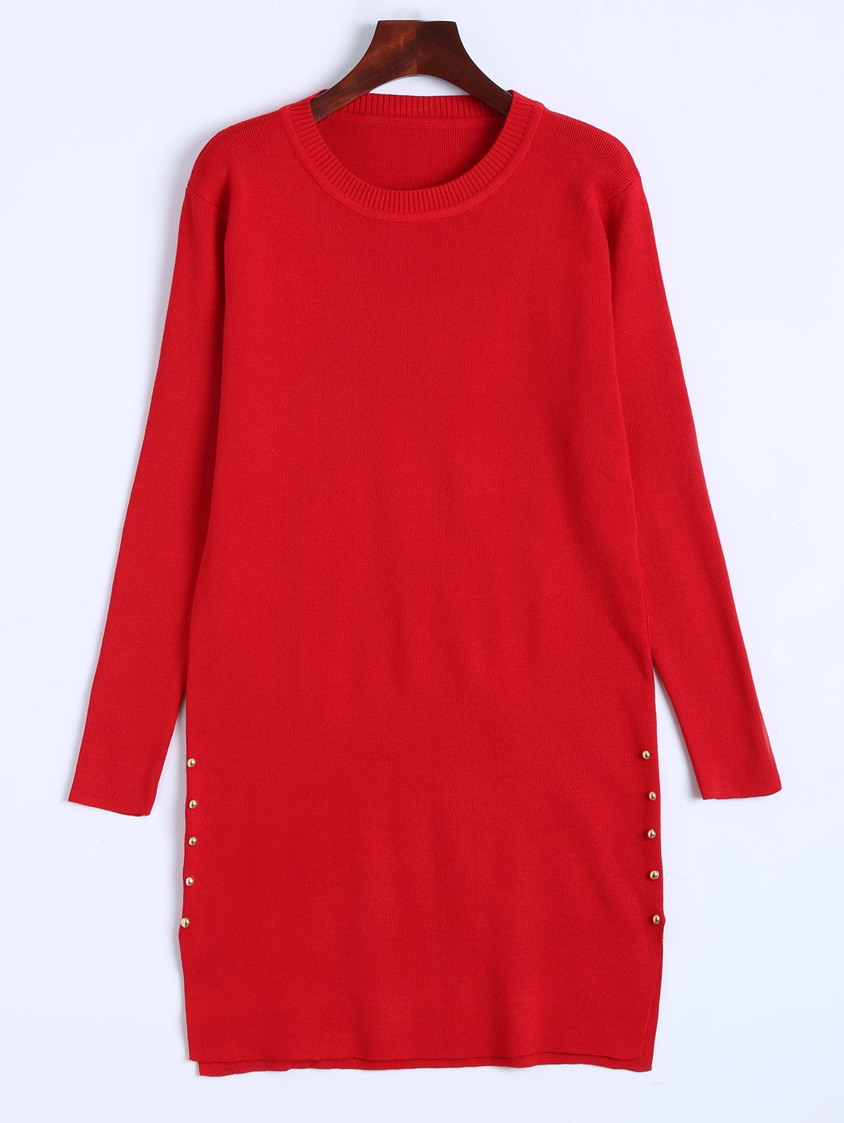 Pull long en maille - Rouge ONE SIZE