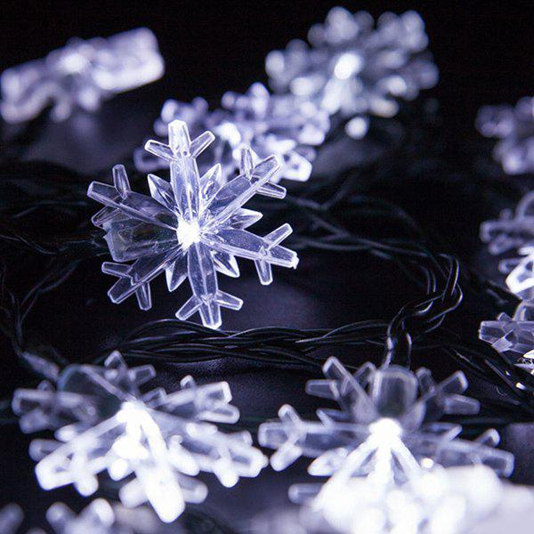 4.8M Christmas Snowflake Solar Power LED String Light - WHITE