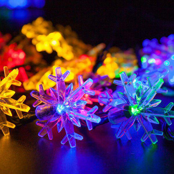 4.8M Christmas Snowflake Solar Power LED String Light - COLORFUL