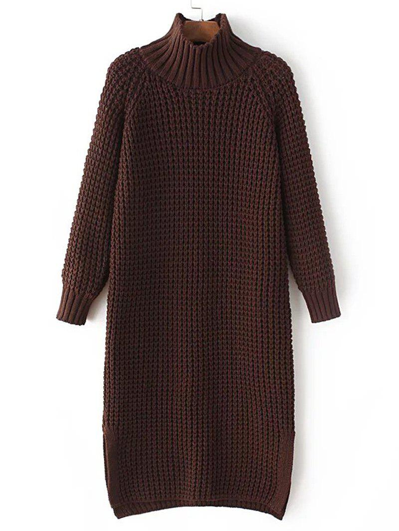 High Neck Chunky Sweater DressWomen<br><br><br>Size: ONE SIZE<br>Color: COFFEE