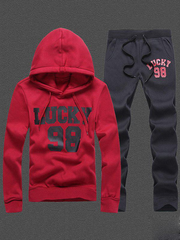 98 Lucky Printed Pullover Hoodie and Sweatpants 98 lucky printed pullover hoodie and sweatpants