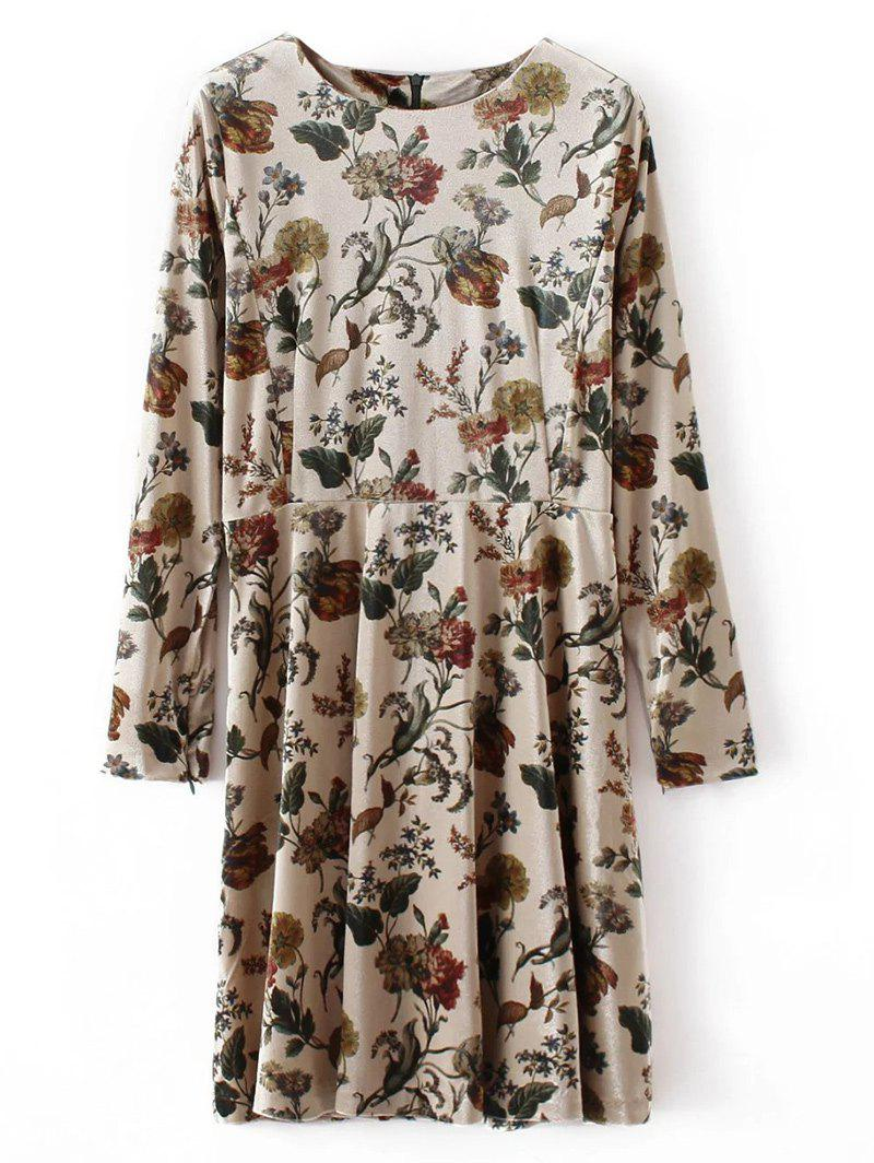 Retro Floral Velvet Mini DressWomen<br><br><br>Size: L<br>Color: APRICOT