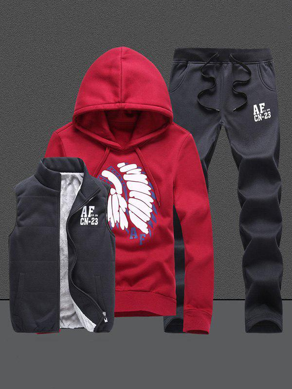 Native Printed Pullover Hoodie with Vest and Sweatpants