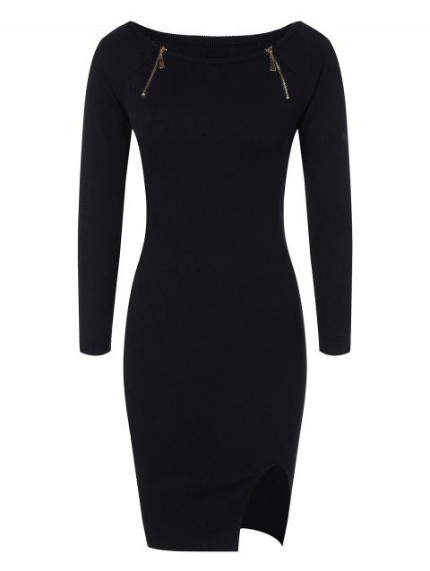 Zipper Embellished Stretchy Tight Dress - BLACK ONE SIZE