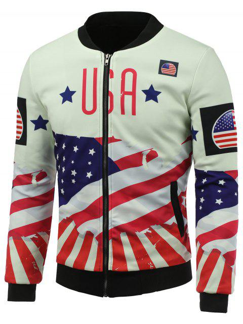3D USA Stars and Stripes Print Stand Collar Zip Up Jacket rembourré - multicolore 2XL