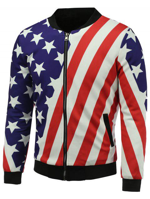 Veste matelassée à col zippé et à imprimé 3D Stars and Stripes - multicolore 5XL