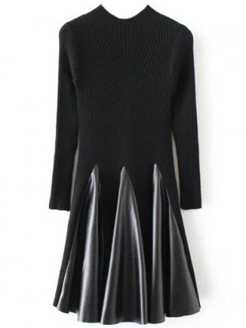 Long Sleeve Ribbed Skater Sweater Dress - BLACK ONE SIZE