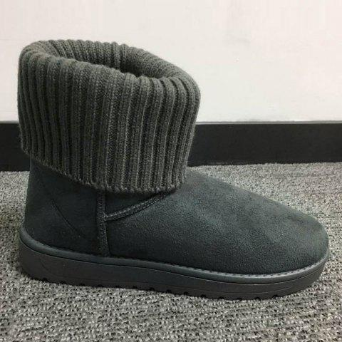 Ribbed Knitted Flock Snow Boots - GRAY 39