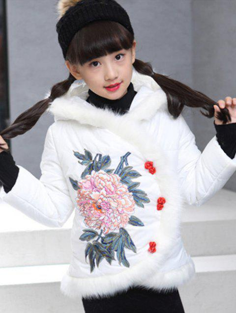 Girls Hooded Floral Embroidered Jacket - WHITE 120