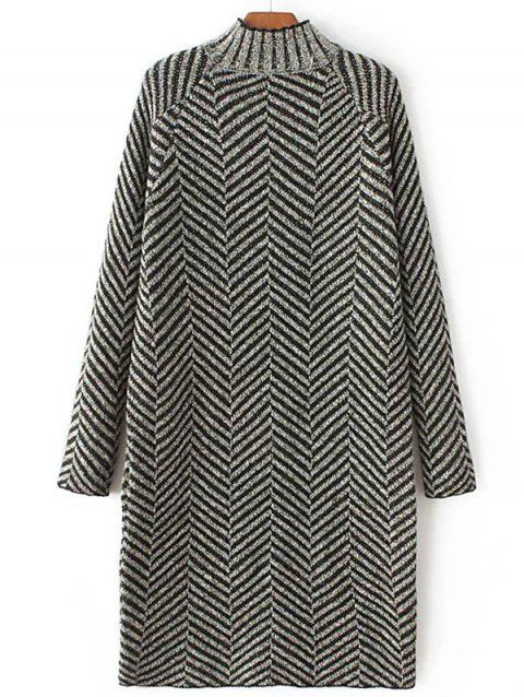 High Neck Stripe Heather Shift Sweater Dress - BLACK ONE SIZE