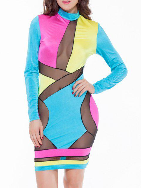 Colorful Patchwork Mesh See-Through Bodycon Dress - COLORMIX M