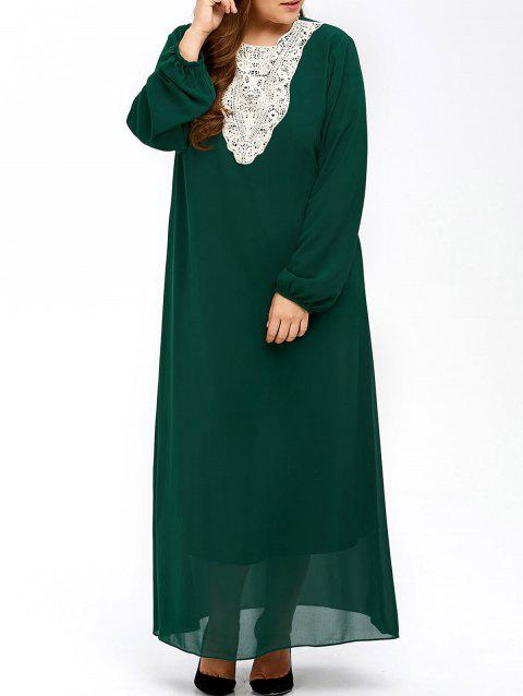0797e255778 LIMITED OFFER  2019 Plus Size Lace Insert Maxi Long Sleeve Dress In ...