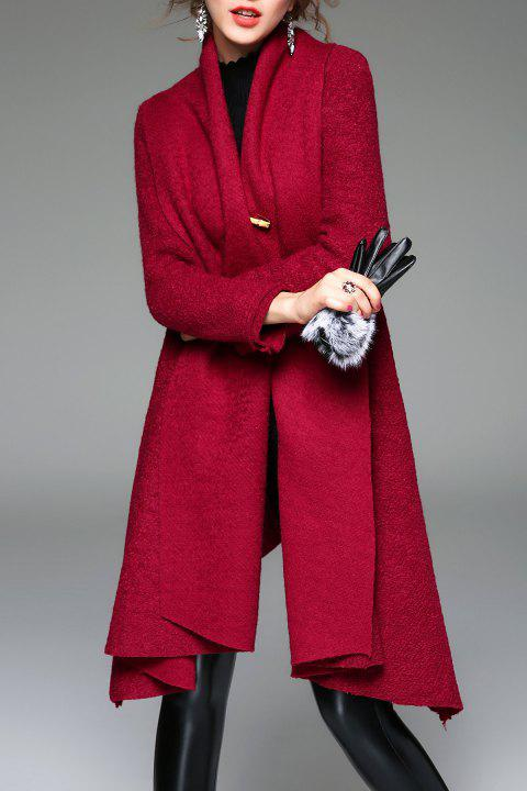 Open Front A Line Knit Coat - BURGUNDY XL