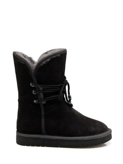 Fuzzy Mid Calf Snow Boots - BLACK 38