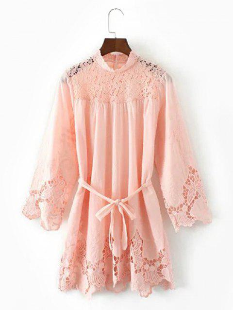 Lace Hollow Out Mini Dress - PINK L