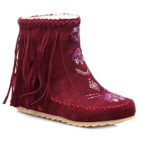 Ethnic Style Braid Embroidered Fringe Boots - RED 37