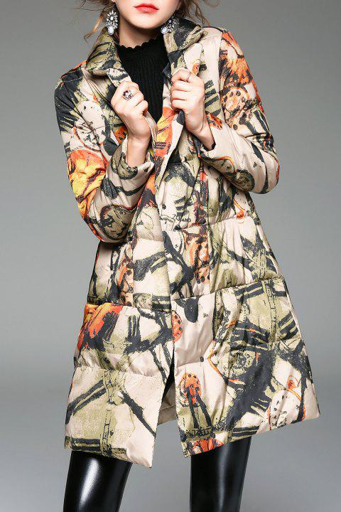 A Line Printed Padded Coat - COLORMIX M