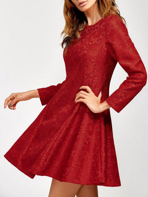 Lace Insert Fit and Flare Dress - RED S