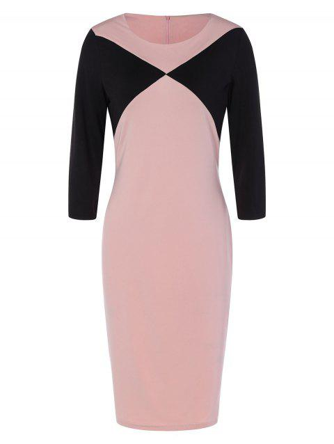 Fitted Two Tone Work Dress - NUDE PINK M