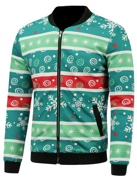3d christmas stripe and snowflake print stand collar padded jacket green l - Christmas Jackets