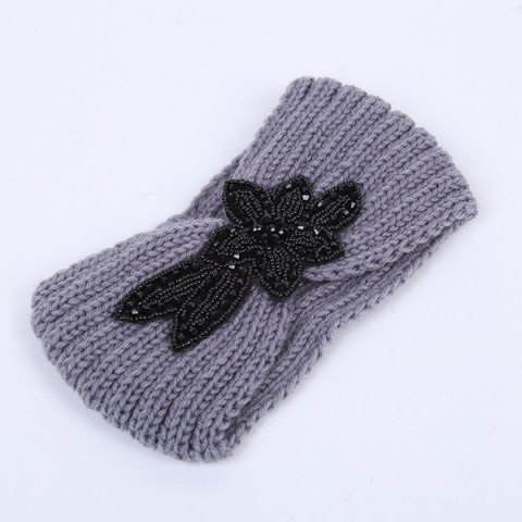 Rhinestone Flower Infinite Knitted Headband - GRAY
