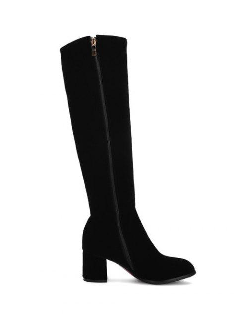 Chunky Heel Metal Zip Knee High Boots - BLACK 37