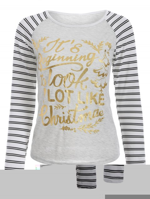 Christmas Letter Stripe Raglan manches T-shirt - Gris Clair M