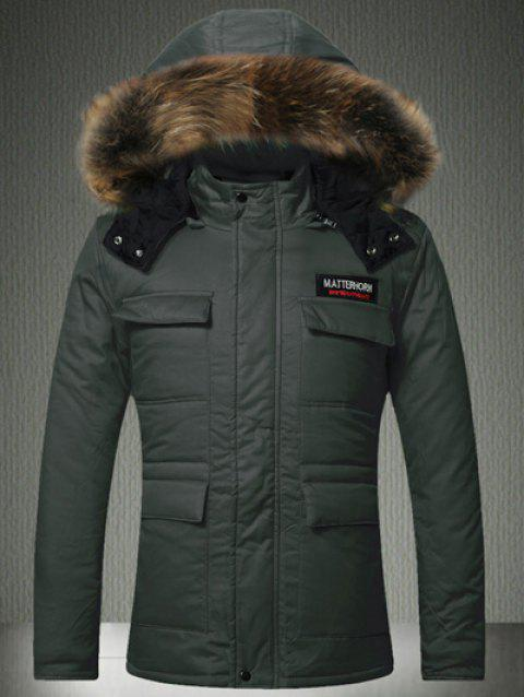 Furry Hood Zip-Up Applique Pockets Padded Coat - ARMY GREEN S