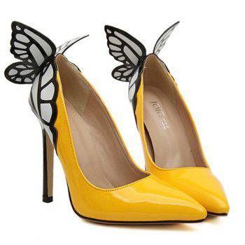 Party Butterfly and High Heel Design Pumps For Women - YELLOW 39