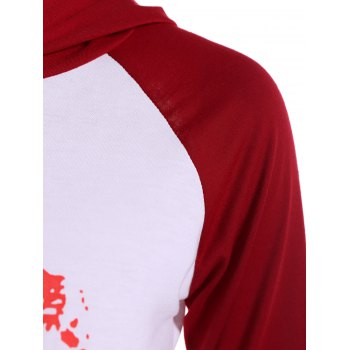 Pullover Lip Graphic Raglan Sleeves Hoodie - RED L