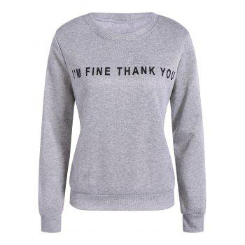 Buy Pullover Letter Printing Sweatshirt GRAY