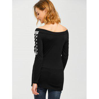 Lace Up Boat Neck Pullover Sweatshirt - BLACK S