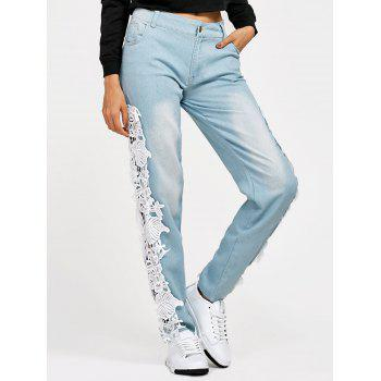 Plus Size Lace Insert Pencil Jeans