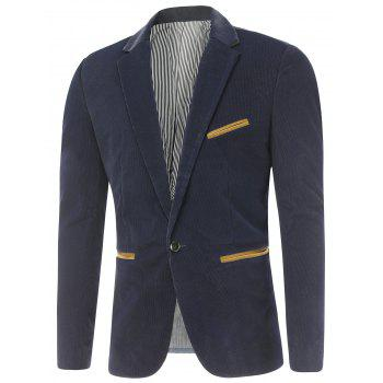 Notch Lapel Contrast Pocket Corduroy Blazer