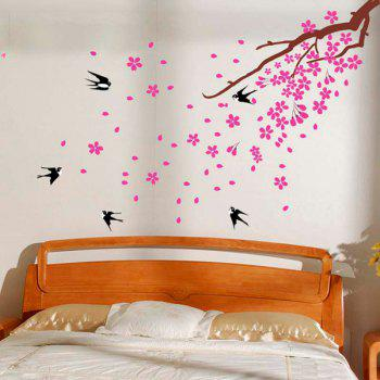 Removeable Swallows Return Wall Sticker - BLACK/PINK