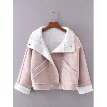 Faux Suede Fleece Trim Cropped Winter Jacket