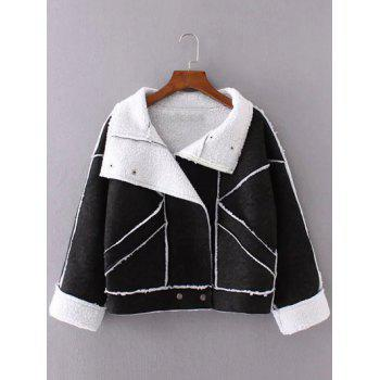 Buy Faux Suede Fleece Trim Cropped Winter Jacket BLACK