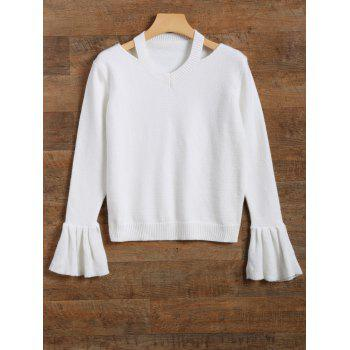 Cut Out Neckline Bell Sleeve Sweater