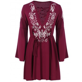 Embroidery Fit and Flare Bell Sleeve Dress