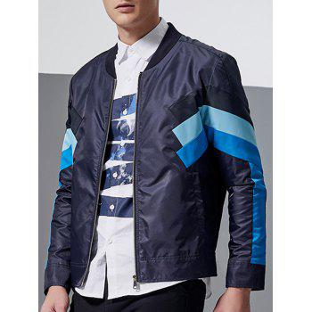 Stand Collar Zip-Up Color Block Spliced Jacket