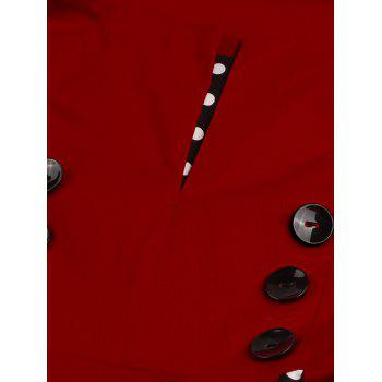 Plus-size Robe de Swing à points polka de style antique - Rouge vineux XL