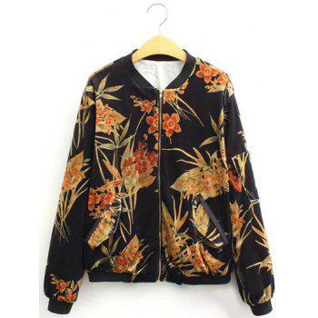 Buy Vintage Slim Floral Print Bomber Jacket BLACK