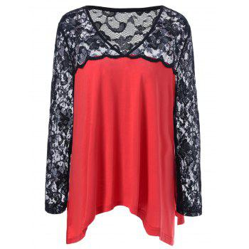 Plus Size Lace Trim Side Slit Blouse RED/BLACK