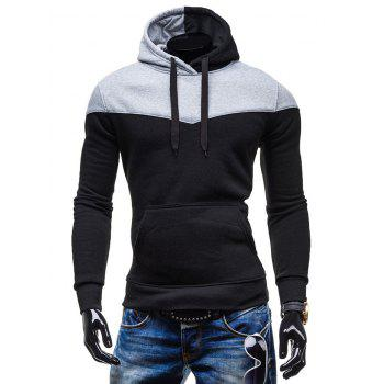 Slim-Fit Color Block Kangaroo Pocket Hoodie