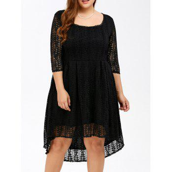 Buy Plus Size Midi High Low Line Lace Dress Sleeves BLACK