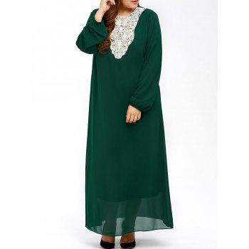 Buy Plus Size Muslim Lace Insert Maxi Long Sleeve Dress BLACKISH GREEN