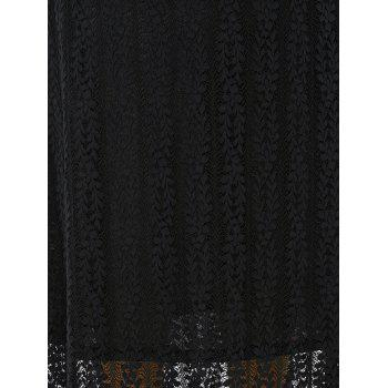 Manches bouffantes musulmane Lace Maxi Dress - Noir 3XL